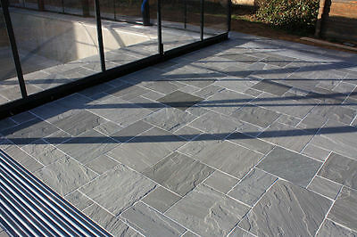Kandla Grey Indian Sandstone Paving - Calibrated Patio Flags Garden Slabs 19m2