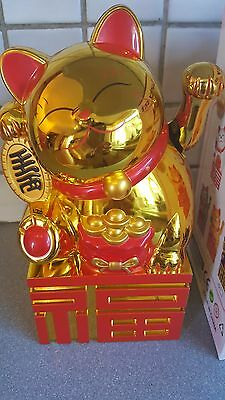 "8.2""Large Gold color Chinese Lucky Cat Waving Moving Arm Decoration new 21 cm A"