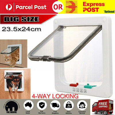 Large or Small 4 Way Lockable Locking Pet Dog Cat Safe Brush Flap Door AU