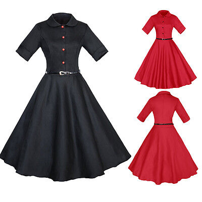 Retro Vintage 40's 50's Collar ROCKABILLY Pin Up De Fiesta SWING vestido nuevo