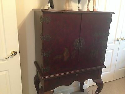 Chinese Lacquer Wine Drinks Cabinet With Drawers