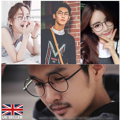Unisex Clear Lens Big Round Metal Frame Vintage Retry Geek Fashion Glasses Gift