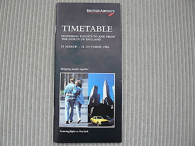 British Airways North Of England Timetable 1996