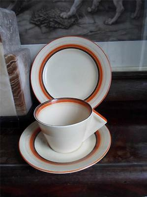 Clarice Cliff Orange & Brown Banded Conical Trio c.1934