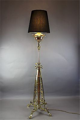Victorian polished brass and copper standard lamp by Hinks