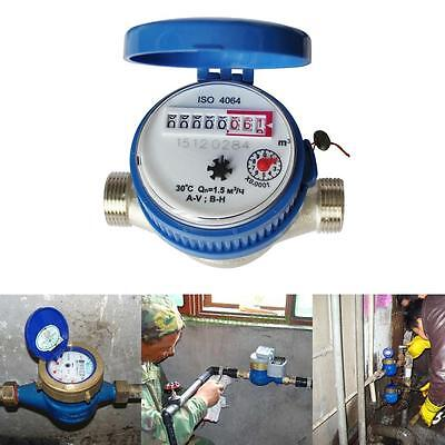 """15mm 1/2"""" Cold Water Flow Measuring Meter Copper for Garden Home Free Fittings"""