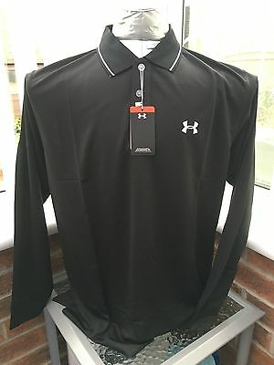 """New Mens Under Armour Golf Long Sleeve Polo Shirt Size Large 44"""" Black"""