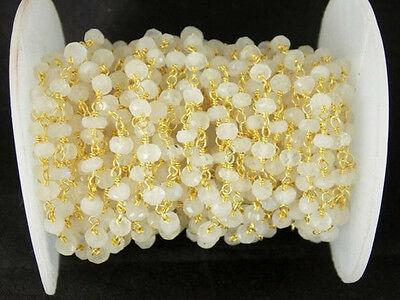 10 Feet White Rainbow Moonstone 24k Gold Plated Faceted Beaded chain 3.5-4mm