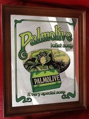"""PALMOLIVE TOILET SOAP 11x14"""" Illustrated GLASS MIRROR Framed VINTAGE Advertising"""