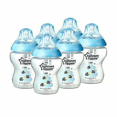 Tommee Tippee Closer to Nature 260 ml Feeding Bottles 6 pack Blue Baby Boy 0+