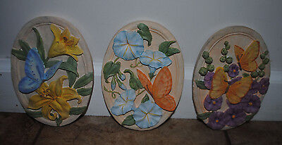 Avon Set Of 3 Butterfly Plaques 5 x 7 Gift Collection Beautiful New In Box