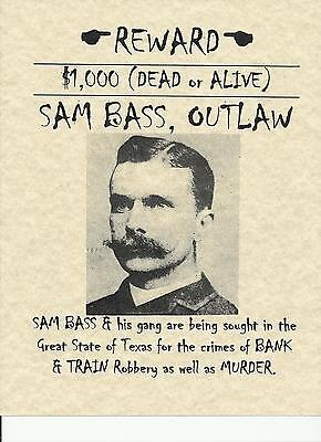 Sam Bass~(I Combine Shipping)~Old West,poster,outlaw,wanted,