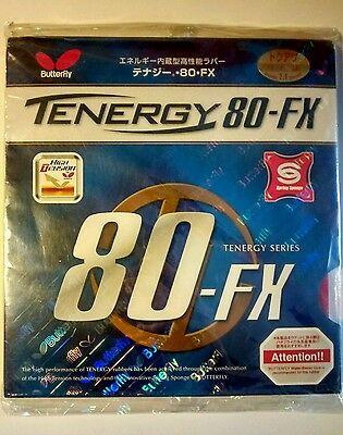 Butterfly Tenergy 80-FX Table Tennis Rubber, Red, 2.1mm sponge