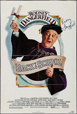 "Poster Back to School 1986 27""x41"" VF 7.0 signed by Rodney Dangerfield"