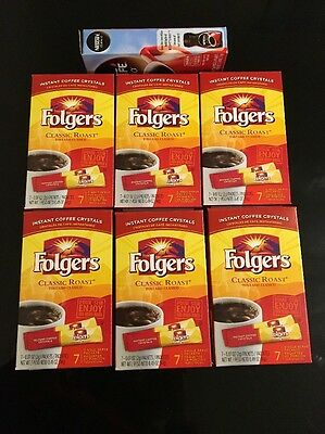 Folgers Instant Coffee Crystals Roast Single Service 12 Boxes = 84 Packets+Bonus