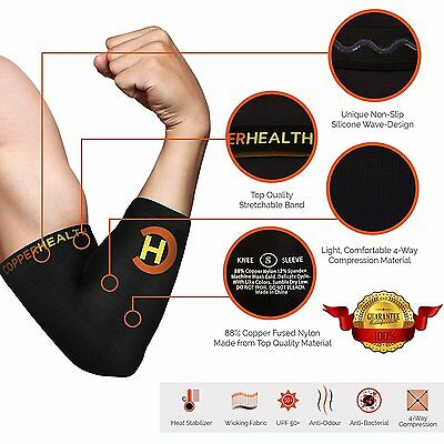 CopperHealth - Compression Elbow Sleeve, Guaranteed Highest Copper Content.