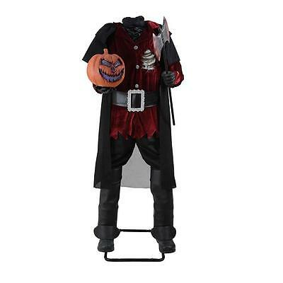 "Headless Horseman 65"" Tall LED Jack-o-Lantern Sound Motion Activated Prop New"