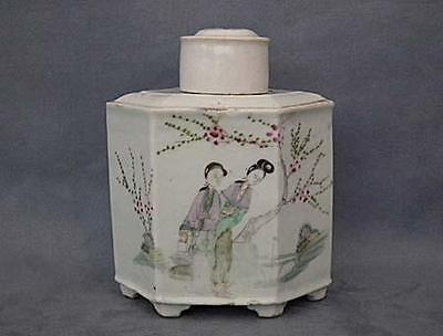Antique Chinese Tea Caddy Export Famille Rose Porcelain