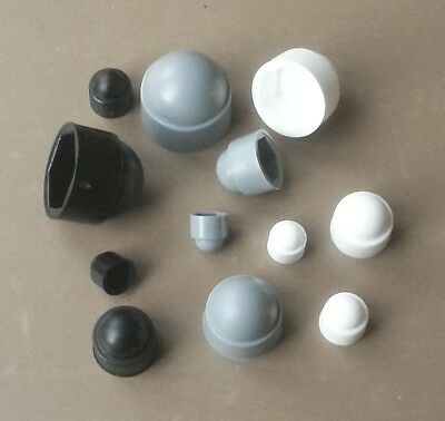 Bolt Nut Domed Cover Caps Plastic Hexagon / Black/White/Grey