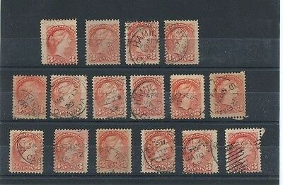 CARMINE ROSE 3 cent Small Queens, **pick one stamp only** , high cat used CAnada
