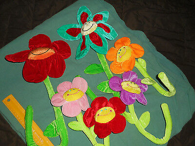Sunflowers Animal Alley (6) New Plush Bendable Colorful Flower Crib Wrap Toys