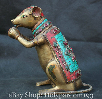 "8"" Old Chinese Turquoise Gilt Bronze Feng Shui Zodiac Year Mouse Rat Statue"
