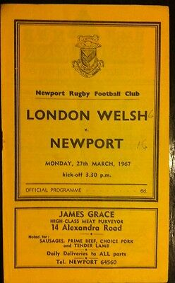 Newport V London Welsh 1967 Rugby Programme