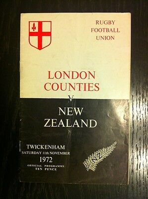 London Counties V New Zealand 1972 Rugby Programme
