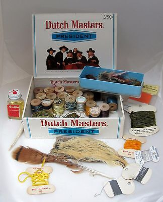 Vintage Fishing Fly Tying Supplies Feathers Silk More in Old Cigar Box T45