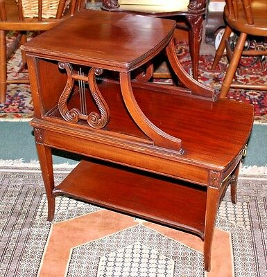 Antique Imperial Grand Rapids Mahogany Lyre Side Step Table