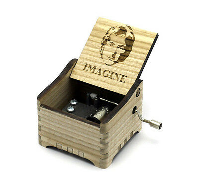Personalisierte Hand Kurbel Holz Spieldose (The Beatles - Imagine)
