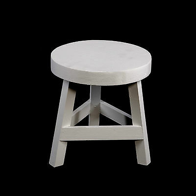 Shappy Chic White Small Wooden Stool Chair Seat Wood Bench Vintage Style 23cm