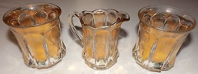 Antique Vintage Etched Crystal Gold Stainned Trim Creamer & 2 Glasses