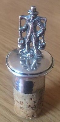 Antique German Silver 800 Wine Bottle Stopper 1940 Man With Carrying Pole