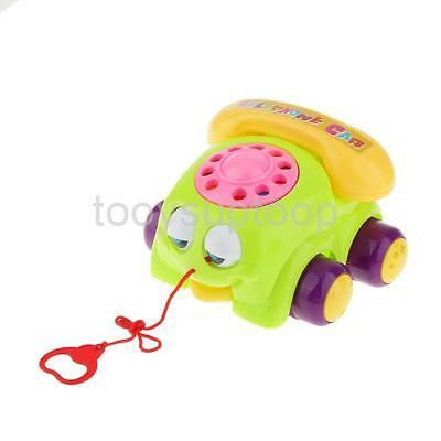 Green Pull Along Telephone Car with Moving Eyes and Ringing Sound Baby Toys