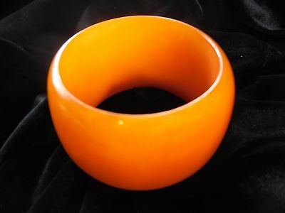 Stunning Extra Wide Butterscotch Vintage Plastic Bangle Bracelet