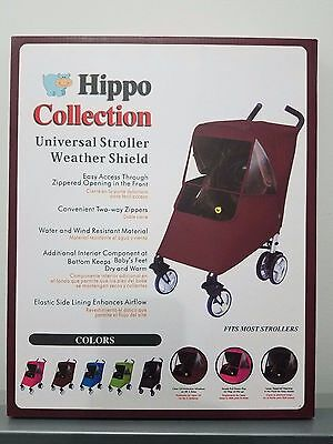 Hippo Collection Burgundy Universal Stroller Weather Shield Including Pouch