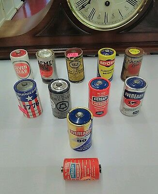 ULTRA RARE LOT OF 10 VINTAGE batteries Eveready rayovac yale seven star acme