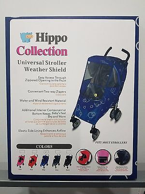 Hippo Collection Universal Stroller Weather Shield Solid Blue with Case