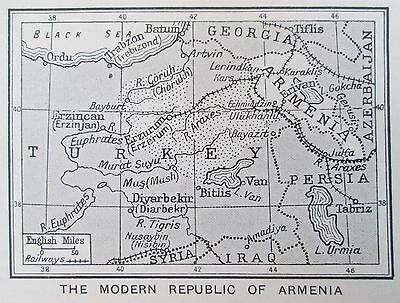 vintage 1934 mini map of The Modern Republic of Armenia and borders 1934
