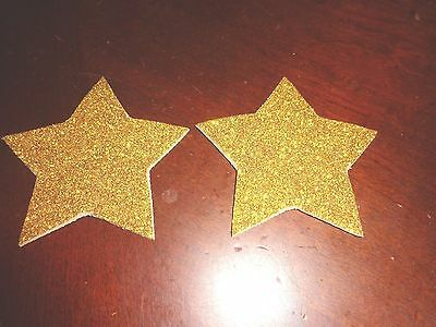 Womens Pasties/ Nipple Covers Water Resistant Gold Glitter Stars