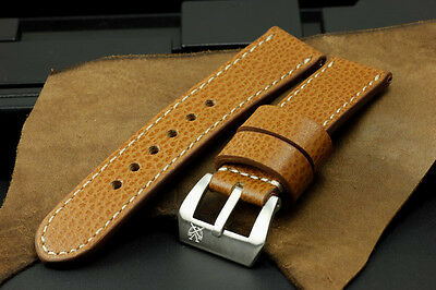 "SV 24mm ""Giraffe"" Brown Cow Leather Band Strap+Buckle for 44mm Panerai PAM Watch"