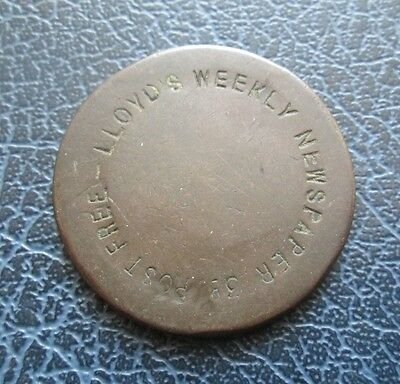 Lloyds Weekly Newspaper 3d Advertising Token, counterstruck on George III Penny