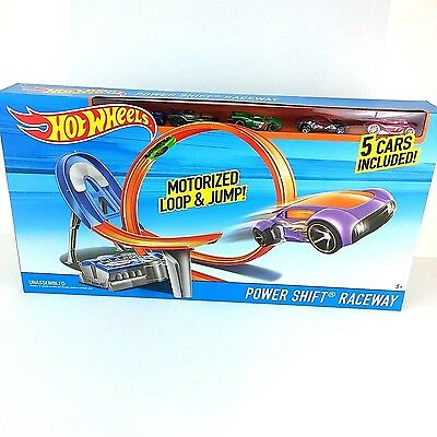 HOT WHEELS Power Shift Race way Motorised Loop & Jump Track set 5 CARS INCLUDED