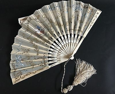 Beautiful Antique 19th Century Hand Painted Lady's Fan