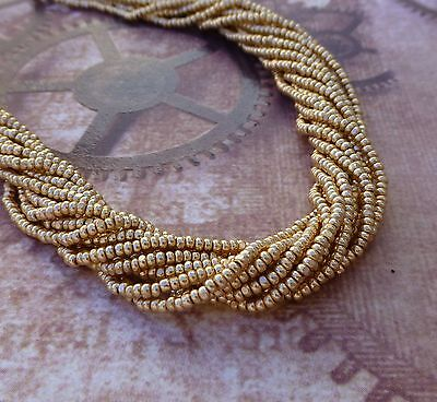 6 Strands Metallic Gold Glass Seed Beads Charlotte Tiny Preciosa Beads
