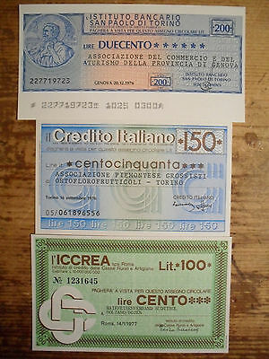 3 diff. Italy assegni cities emergency paper money 1976-78 XF-Unc.