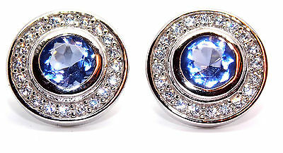 Sterling Silver Tanzanite And Diamond 2.26ct Stud Earrings (925)