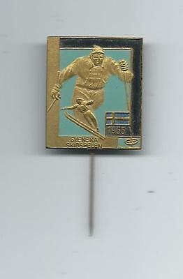 Sweden Stockholm 1955 National Skiing Championship Downhill Cross Country Pin SM