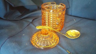 Indiana Windsor Pattern Pink Depression Glass Lidded Jam Jelly Jar Spoon Slit W